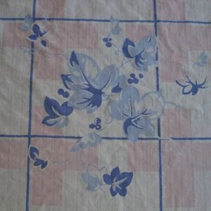 Vintage 1950s Square Cotton Tablecloth Floral